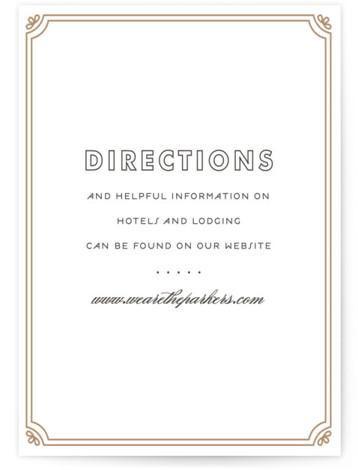This is a portrait vintage, yellow Direction Cards by Bourne Paper Co. called Modern Deco with Letterpress printing on 100% Cotton in Card Flat Card format. A deco themed starburst background paired with clean, modern fonts.