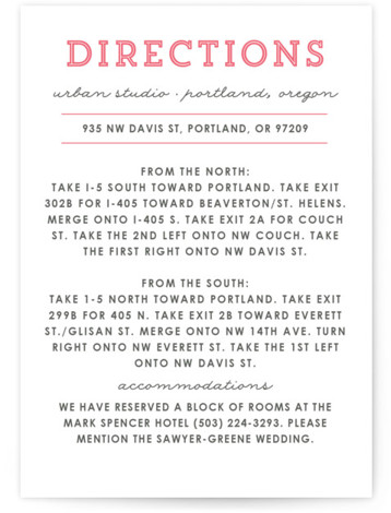 This is a portrait bold and typographic, illustrative, modern, pink Direction Cards by Olivia Raufman called On Location with Letterpress printing on 100% Cotton in Card Flat Card format. A modern, streamlined invitation featuring clean typography and a simple map ...