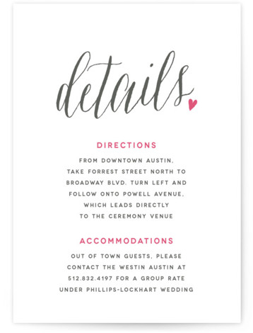 This is a portrait bold and typographic, classical, elegant, whimsical, pink Direction Cards by Melanie Severin called Charming Love with Letterpress printing on 100% Cotton in Card Flat Card format. Clean, simple and chic typography accented by a charming heart ...