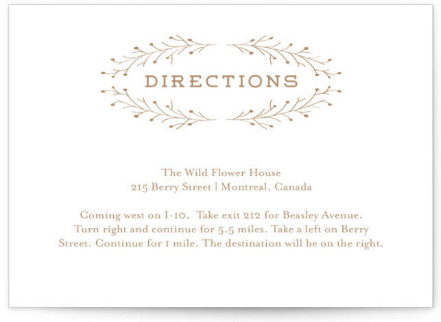 This is a landscape botanical, yellow Direction Cards by Grace Cobb called Wanderlust Wreath with Letterpress printing on 100% Cotton in Card Flat Card format. This quaint and fanciful wedding invitation features a wreath of branches and leaves around the ...
