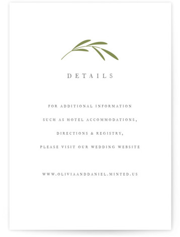 This is a botanical, simple and minimalist, Direction Cards by Jennifer Postorino called Wisp with Letterpress printing on 100% Cotton in Card Flat Card format. A classic wedding invitation featuring hand drawn sprigs and traditional type.