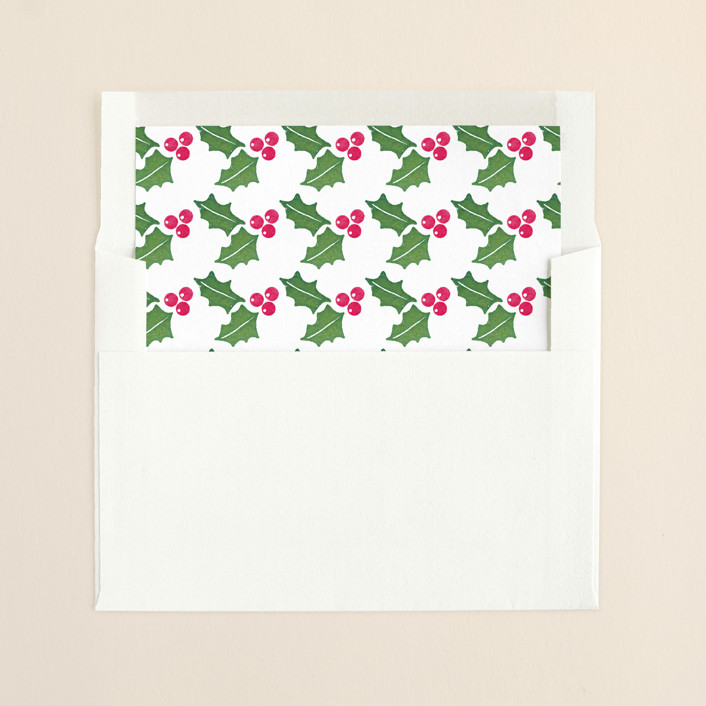 """""""Merry Watercolor"""" - Floral & Botanical Slip-in Envelope Liners in Pine by Paper Dahlia."""