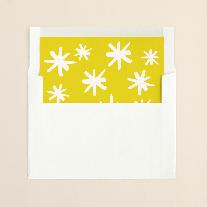 """""""Spirited Holiday"""" - Hand Drawn Slip-in Envelope Liners in Mustard by The Social Type."""
