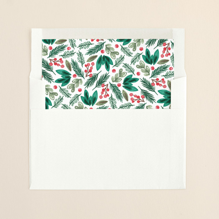 """Painted Banner"" - Floral & Botanical, Hand Drawn Slip-in Envelope Liners in Coral by Alethea and Ruth."
