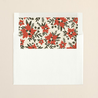 """Merry & Bright Hand Lettered"" - Floral & Botanical, Rustic/Craft Slip-in Envelope Liners in Holly by Wildfield Paper Co.."