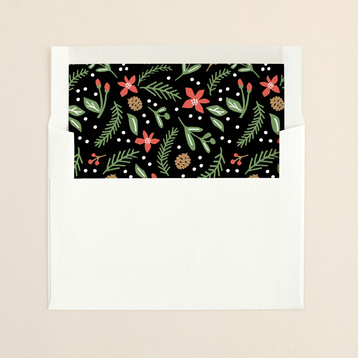 """""""A beautiful holiday"""" - Floral & Botanical, Hand Drawn Slip-in Envelope Liners in Midnight by Jennifer Wick."""