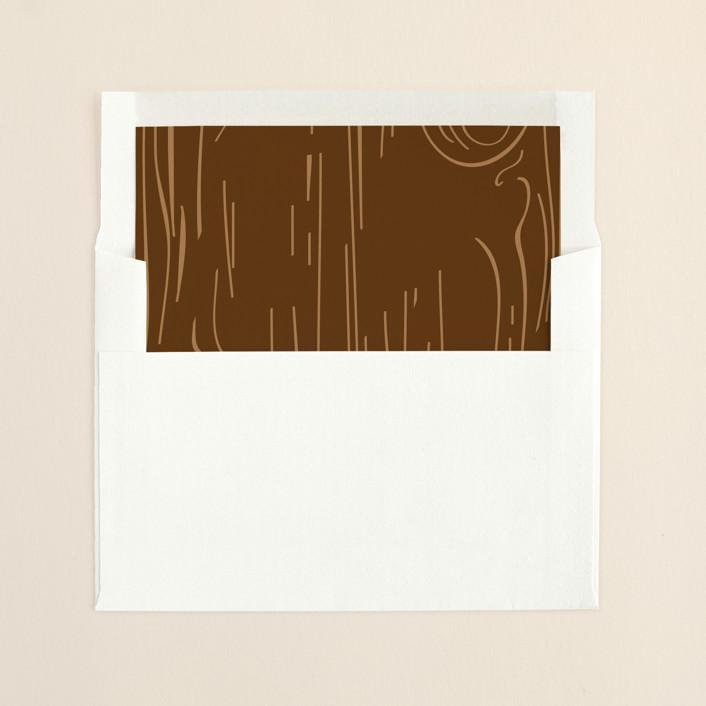 """""""Fall Carving"""" - Monogrammed Slip-in Envelope Liners in Woodgrain by Amanda Joy."""