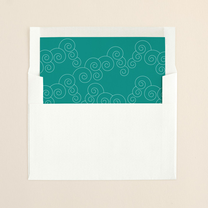 """BLOCK PRINT WAVES"" - Destination, Destination Slip-in Envelope Liners in Tropical Blue by bumble ink."
