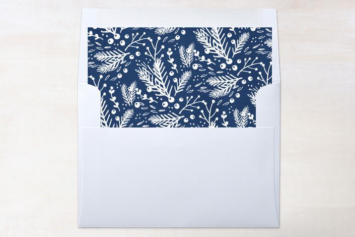 """Shiny Pine Frame"" - Elegant, Floral & Botanical Slip-in Envelope Liners in Indigo by Kristie Kern."
