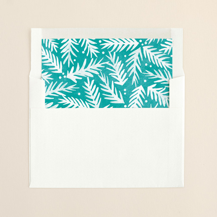 """Be Merry Script"" - Modern, Floral & Botanical Slip-in Envelope Liners in Turquoise by Hooray Creative."