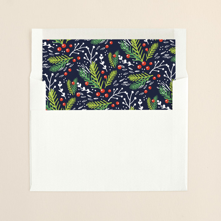 """""""Festive Foliage"""" - Floral & Botanical, Classical Slip-in Envelope Liners in Midnight by Kristie Kern."""