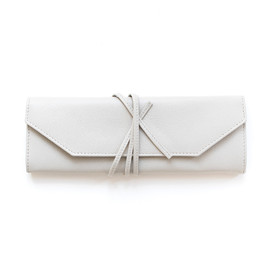 This is a grey jewelry roll by Minted called Cloud Grey.