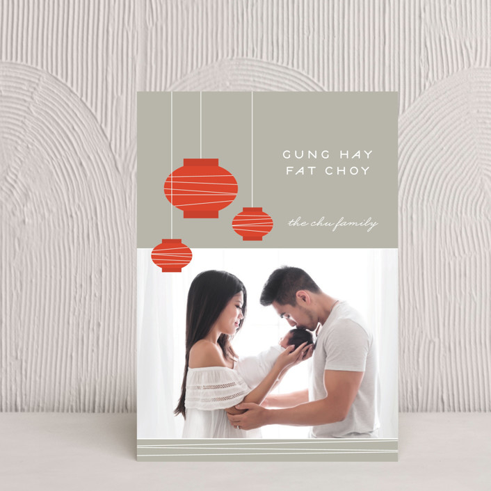 """""""Lantern Fun"""" - Modern, Simple Chinese New Years Petite Cards in Silver by Monica Tuazon."""