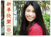 This is a red chinese new year card by GeekInk Design called Paper Strip New Year printing on smooth signature in standard.