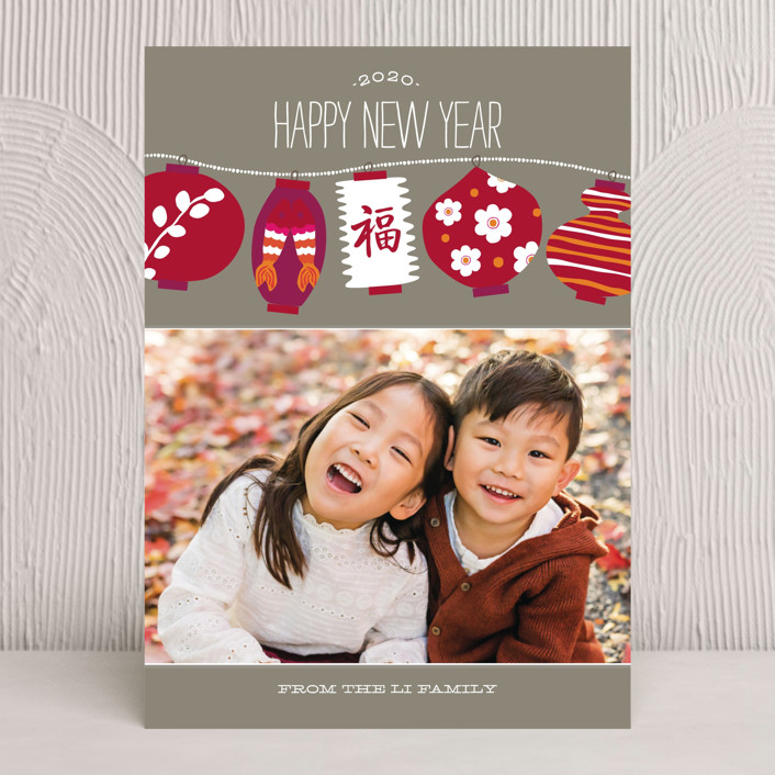 """Lucky Lanterns"" - Rustic, Craft Chinese New Years Cards in Birchwood by Griffinbell Paper Co.."