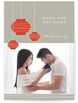 This is a grey chinese new year card by Monica Tuazon called Lantern Fun printing on smooth signature in standard.