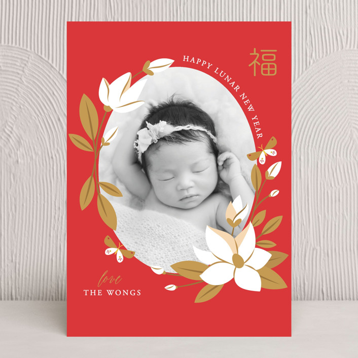 """Magnolia Spring Lunar New Year"" - Chinese New Years Cards in Goji Berry by curiouszhi design."