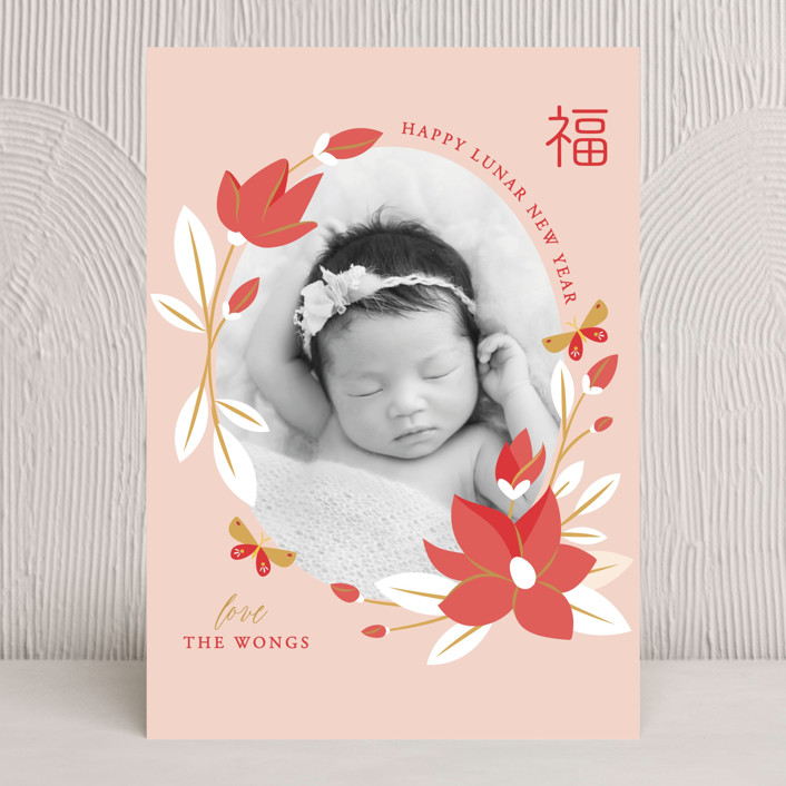 """""""Magnolia Spring Lunar New Year"""" - Chinese New Years Cards in Blush by curiouszhi design."""