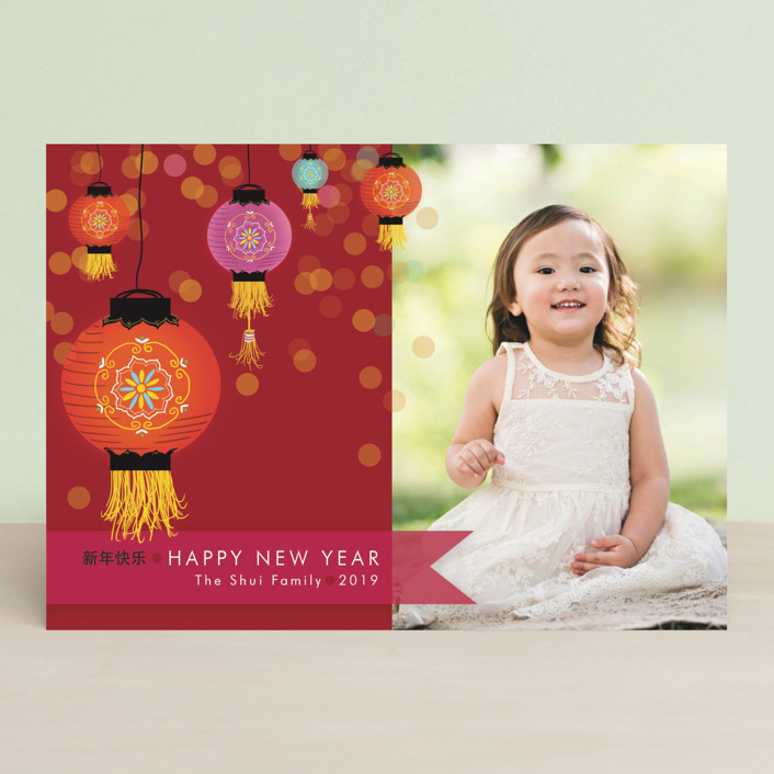 """""""Sparkling Lantern"""" - Classical, Traditional Chinese New Years Cards in Burnt Orange by Larkspur Paperie."""