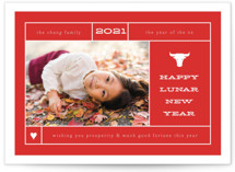 This is a red chinese new year card by Up Up Creative called Lunar Lookup printing on smooth signature in standard.
