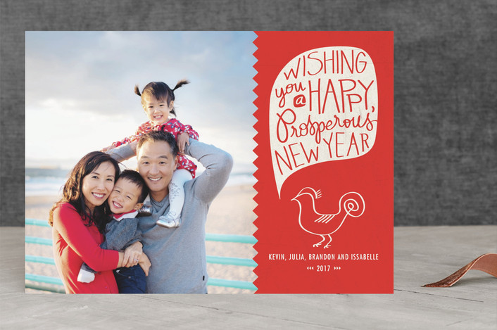 """Lucky Monkey"" - Whimsical & Funny Chinese New Years Cards in Ruby by Heritage and Joy."