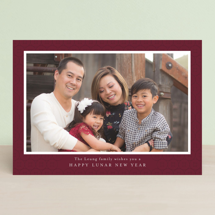 """Lucky Coins"" - Elegant Chinese New Years Cards in Plum by Jennifer Lew."
