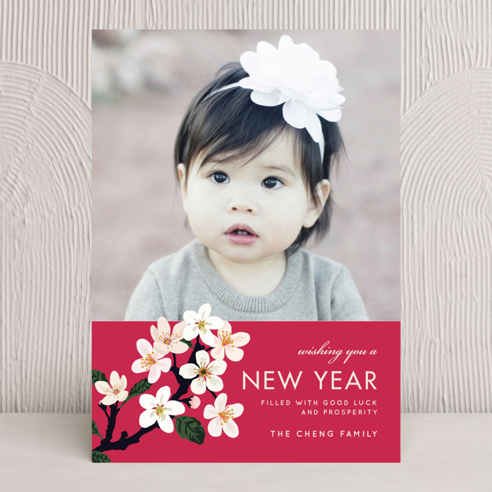 """Lunar Blossoms"" - Chinese New Years Cards in Amaranth by Faiths Designs."