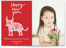 This is a red chinese new year card by Yaling Hou Suzuki called Chinese Paper Cut printing on smooth signature in standard.