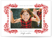 This is a red chinese new year card by Grae Sales called Feisty Swirls printing on smooth signature in standard.
