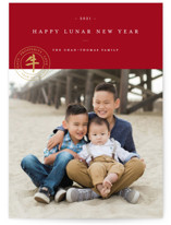 This is a red chinese new year card by Jennifer Lew called Our Year printing on smooth signature in standard.
