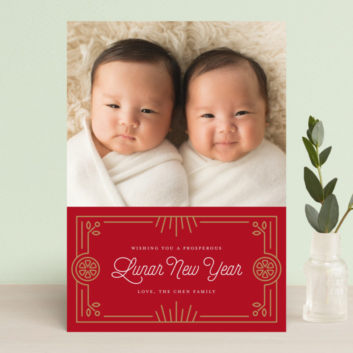 """Prosperous Oranges"" - Chinese New Years Postcards in Scarlet by Genna Cowsert."