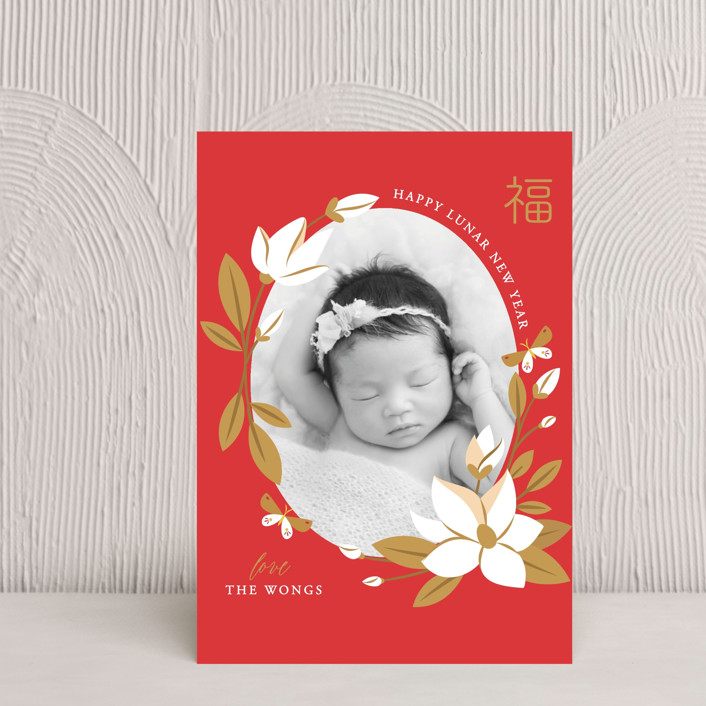 """""""Magnolia Spring Lunar New Year"""" - Chinese New Years Postcards in Goji Berry by curiouszhi design."""