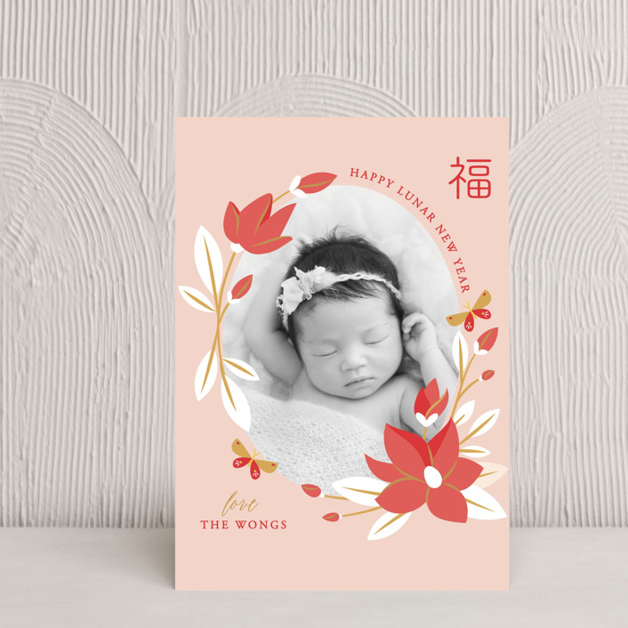 """""""Magnolia Spring Lunar New Year"""" - Chinese New Years Postcards in Blush by curiouszhi design."""