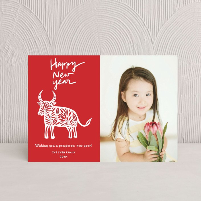 """""""Chinese Paper Cut"""" - Bohemian Chinese New Years Postcards in Ruby by Yaling Hou Suzuki."""