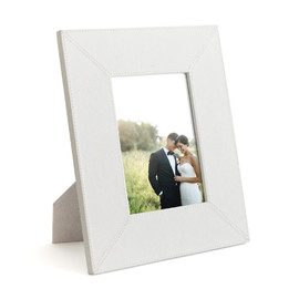 This is a white picture frame by Minted called Cloud Grey Leather.