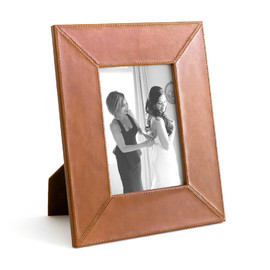 This is a brown picture frame by Minted called Brown Leather.