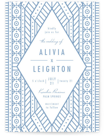 This is a portrait bold and typographic, bold typographic, vintage, blue Wedding Invitations by Melanie Kosuge called ALIVIA with Letterpress printing on 100% Cotton in Classic Flat Card format. A modern wedding invitation featuring elegant, original, geometric illustration and pattern ...