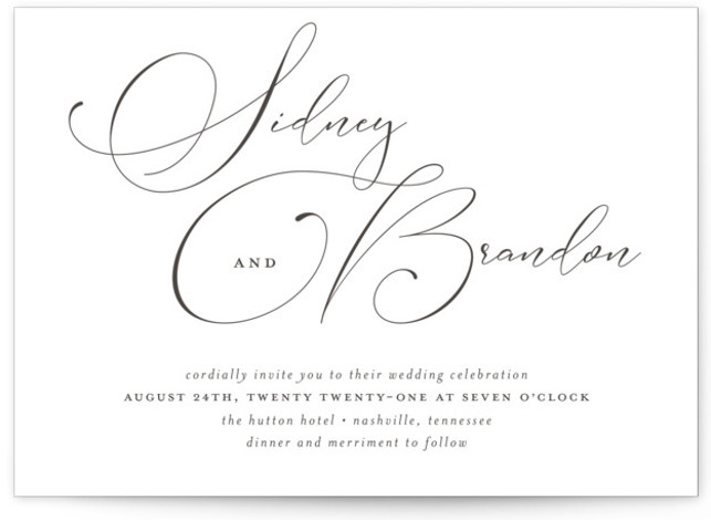 This is a landscape bold typographic, classic formal, simple minimalist, black Wedding Invitations by Jessica Williams called Lightly Penned with Letterpress printing on 100% Cotton in Classic Flat Card format. Modern calligraphy creates a unique wedding invitation