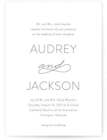 This is a bold typographic, classic formal, simple minimalist, black Wedding Invitations by Kim Dietrich Elam called Forever And with Letterpress printing on 100% Cotton in Classic Flat Card format. Romantic wedding invitation.