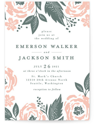 This is a portrait botanical, blue Wedding Invitations by Alethea and Ruth called Punchy Peonies with Letterpress printing on 100% Cotton in Classic Flat Card format. This wedding invite features bold, painted like peonies and leaves.