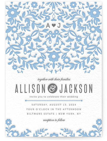 This is a portrait botanical, ethnic/cultural, floral, hand drawn, monogrammed, rustic, blue Wedding Invitations by Kristen Smith called Paper Flowers with Letterpress printing on 100% Cotton in Classic Flat Card format.
