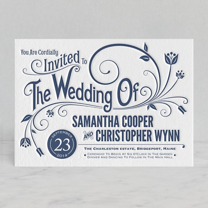 """Vintage Blush"" - Bold typographic, Floral & Botanical Letterpress Wedding Invitations in Navy by GeekInk Design."