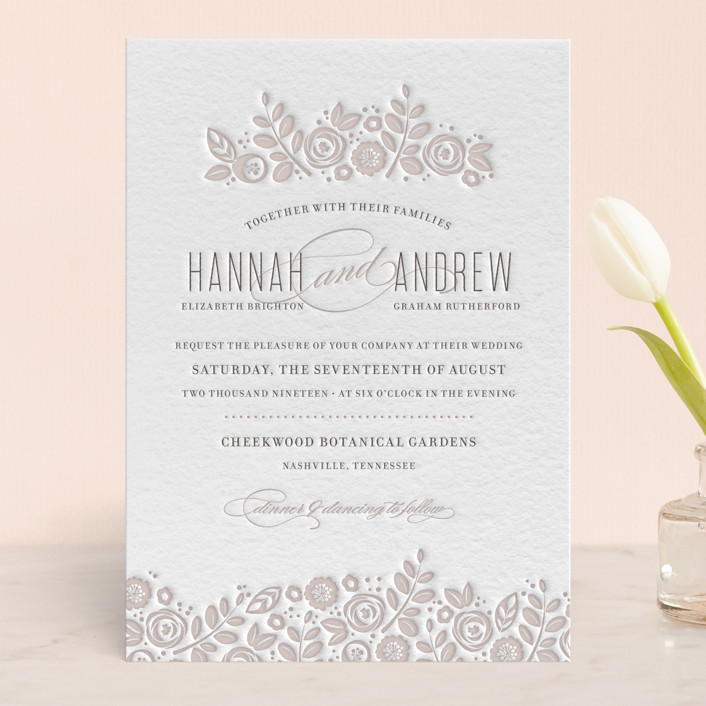 """White Shadows"" - Floral & Botanical, Hand Drawn Letterpress Wedding Invitations in Warm Grey by Jessica Williams."