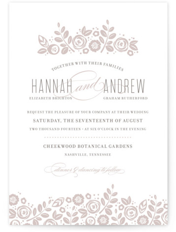 This is a landscape, portrait botanical, classical, elegant, floral, hand drawn, vintage, grey Wedding Invitations by Jessica Williams called White Shadows with Letterpress printing on 100% Cotton in Classic Flat Card format. Minted's letterpress wedding invitations are created by independent ...