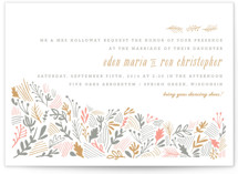 This is a grey letterpress wedding invitation by Moglea called The Grainfield with letterpress printing on coventry320 in standard.