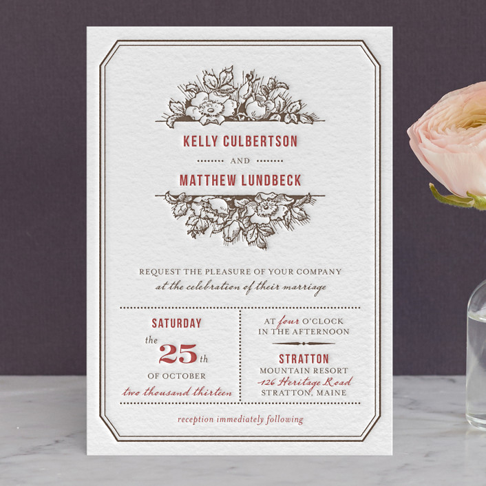 harvest floral letterpress wedding invitations in ruby by paper dahlia - Letterpress Wedding Invitations