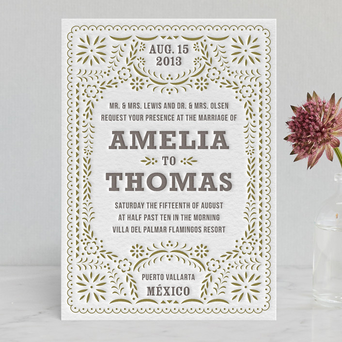 fiesta folk art letterpress wedding invitations by root beer float, Wedding invitations
