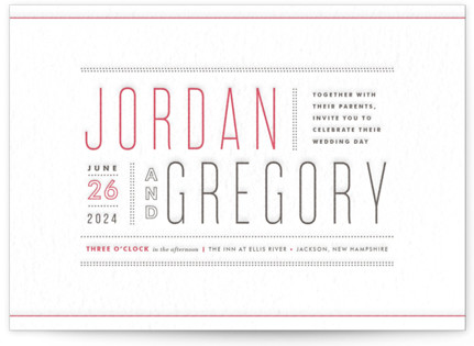 Column Rule Letterpress Wedding Invitations