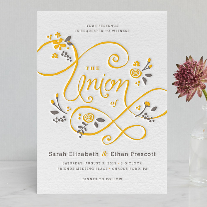 """A More Perfect Union"" - Floral & Botanical, Hand Drawn Letterpress Wedding Invitations in Warm Grey by Jennifer Wick."