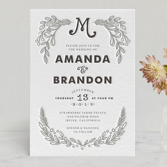 Chalkboard Letterpress Wedding Invitations By Alethea And Ruth ...